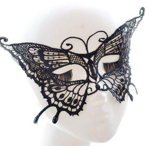Online Faux Lace Butterfly Hallowmas Party Mask - BLACK  Mobile