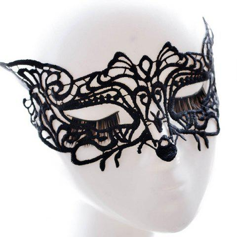 Latest Fox Faux Lace Hallowmas Party Mask - BLACK  Mobile