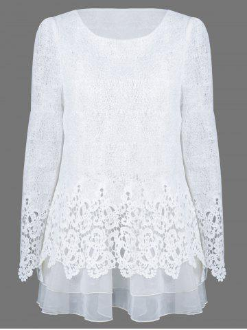 Online Mesh Patchwork Layered Lace Tunic Blouse WHITE S