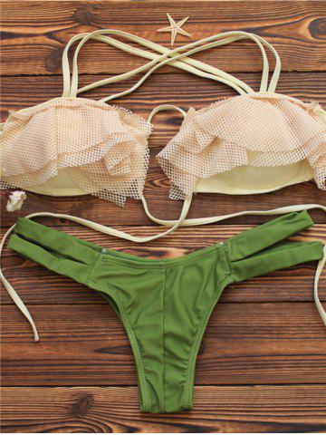 Best Halter Mesh Spliced Cut Out Bikini Set GREEN L