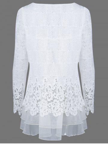 Store Mesh Patchwork Layered Lace Tunic Blouse - XL WHITE Mobile