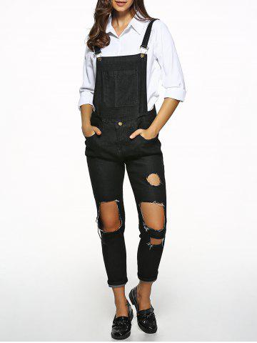 Outfit Broken Hole Denim Overalls