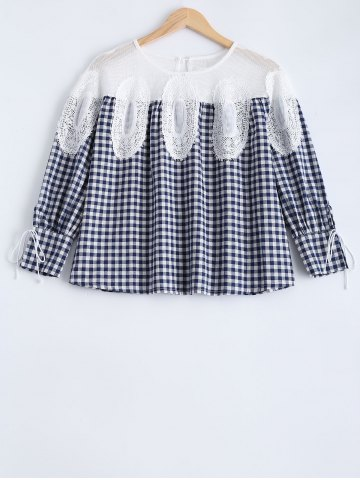 Outfits Hollow Out Plaid Blouse