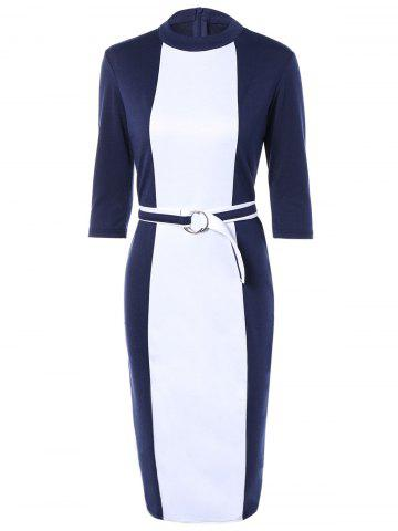 Trendy Zipper Up Sheath Dress With Belt