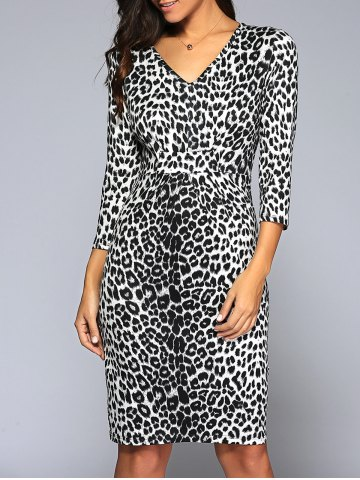 Latest V Neck Leopard Knee Length Tight Dress