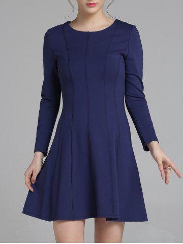 Unique Long Sleeve Fitting A-Line Dress