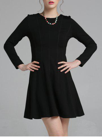 Discount Long Sleeve Fitting A-Line Dress BLACK 2XL