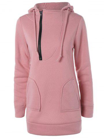 Chic Zipper Up Double Pockets Hoodie LIGHT PINK XL