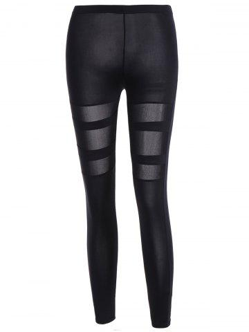 Chic Cut Out Ninth Skinny Pants BLACK ONE SIZE