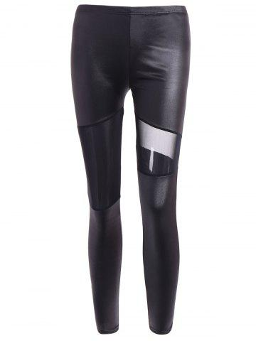 Latest Hollow Out Ninth Faux Leather Pants BLACK ONE SIZE