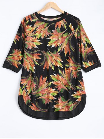 Shops Plus Size Raglan Sleeve Plant Print Blouse