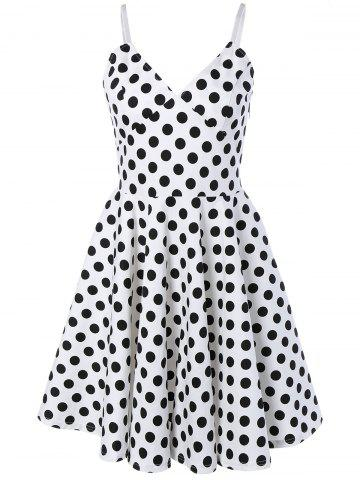 Unique Spaghetti Strap Polka Dot Swing Dress