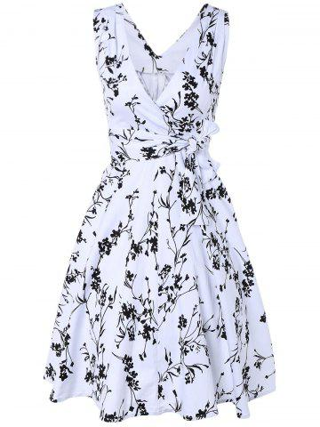 Outfits Surplice Tiny Floral Cute Midi Skater Dress