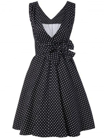 Hot Bowknot Polka Dot Swing Fit and Flare Dress BLACK M