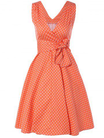Sale Bowknot Polka Dot Fit and Flare Dress