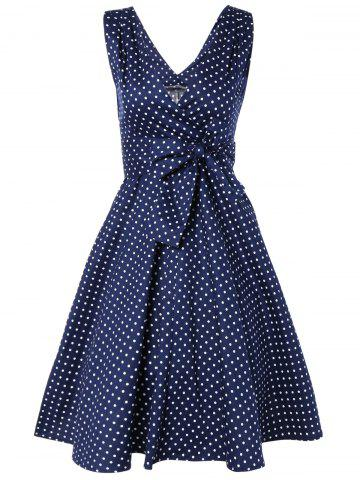 Online Bowknot Polka Dot Fit and Flare Dress