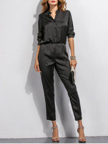 Latest Buttoned High Waist Long Sleeves Jumpsuit