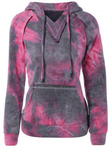 Ombre Topstitched Pocket Design Hoodie - Rose Red - L
