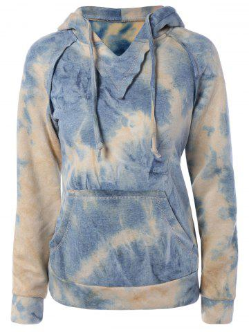 Fashion Ombre Topstitched Pocket Design Hoodie YELLOW L