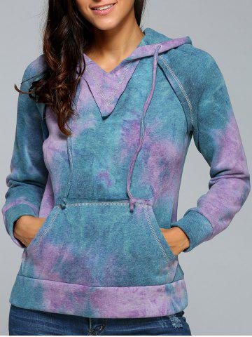 Fancy Ombre Topstitched Pocket Design Hoodie PURPLE XL