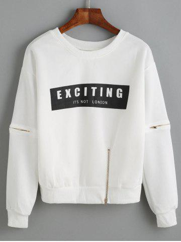 Outfits Letter Applique Zipper Design Pullover Sweatshirt WHITE ONE SIZE