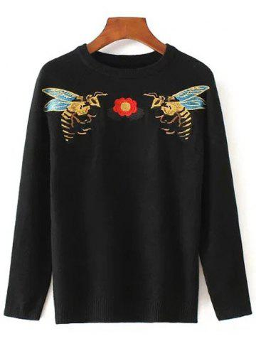 Discount Bee Embroidered Stretchy Pullover Sweater