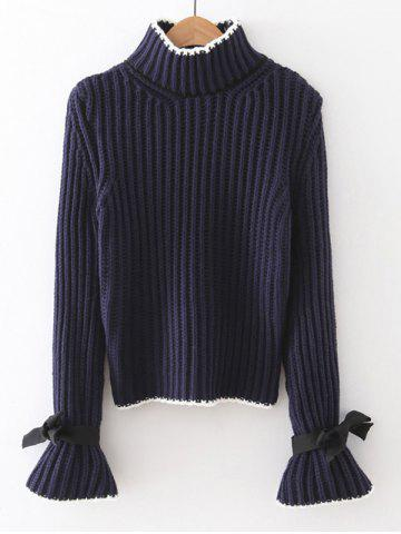 Online Ribbed Bell Sleeves Bowknot Sweater
