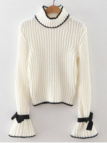 Discount Ribbed Bell Sleeves Bowknot Sweater