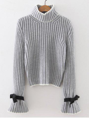 Ribbed Bell Sleeves Bowknot Sweater - Light Gray - One Size