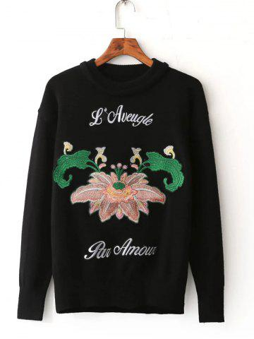 Sale Floral Embroidered Pullover Sweater