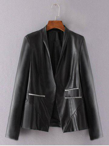 Fancy One Button PU Leather Biker Jacket