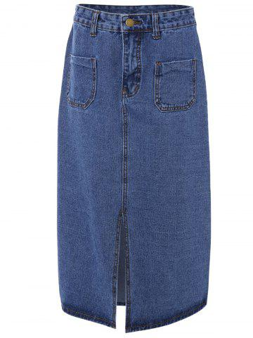 Trendy Double Pocket Split Denim Skirt
