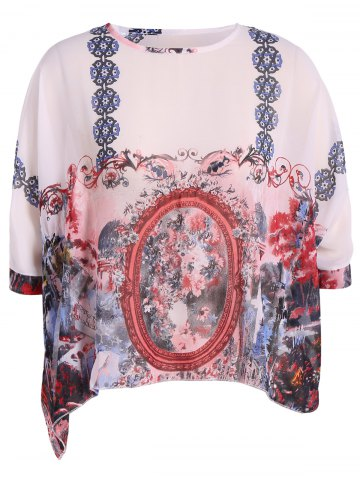 Outfits Plus Size Print Chiffon T-Shirt