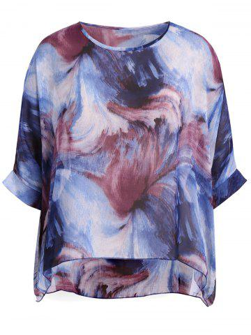 Outfit Plus Size Abstract Print Chiffon T-Shirt