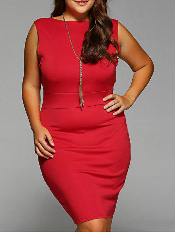 Outfits Plus Size Sleeveless Bodycon Dress RED 2XL