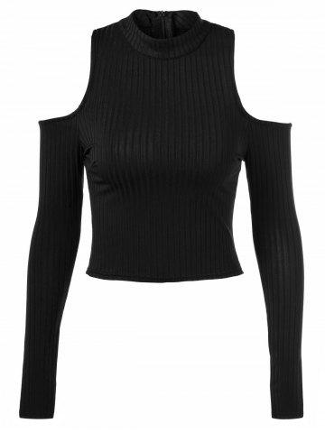 Fancy Back Zipper Cut Out Pullover Sweater BLACK ONE SIZE