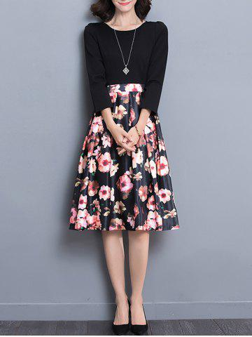 Fashion High Wait Floral Print Midi Dress