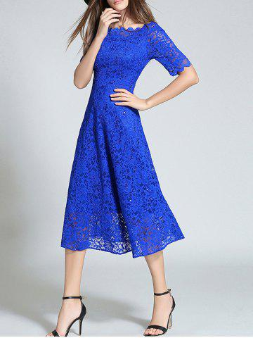 Chic Boat Neck Sheer Lace Dress