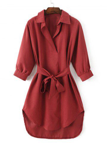Store Tied-Up Belted Asymmetric Shirt Dress LIGHT RED L
