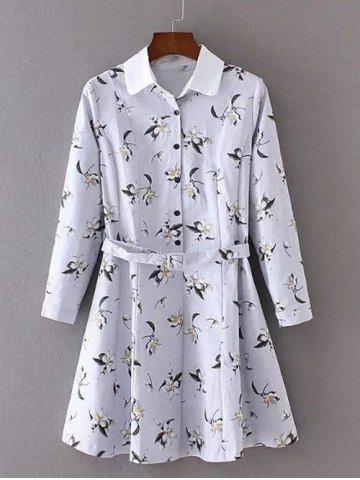 Trendy Flower Print Buttoned Belted Swing Dress