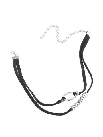 Layered Faux Leather Velvet Round Beaded Choker - Silver