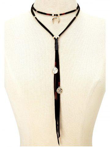 Outfits Faux Leather Velvet Moon Coins Choker