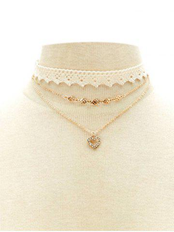 Trendy Faux Lace Rhinestone Heart Choker Set WHITE