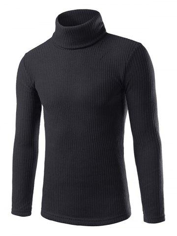 Outfit Turtle Neck Slimming Long Sleeve Knitting Sweater - BLACK XL Mobile