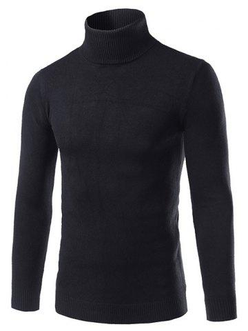 New Turtle Neck Slimming Long Sleeve Sweater - M BLACK Mobile