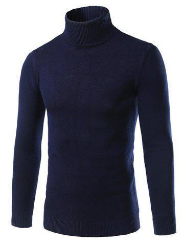 Discount Turtle Neck Slimming Long Sleeve Sweater - L CADETBLUE Mobile