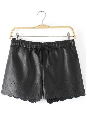 New Openwork Drawstring Scalloped Leather Shorts