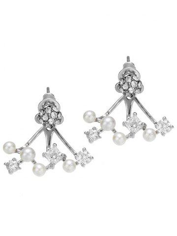 Online Rhinestone Ball Faux Pearl Earrings