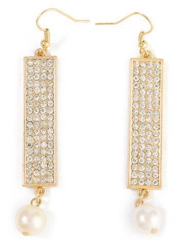 Discount Rhinestone Faux Pearl Geometric Drop Earrings
