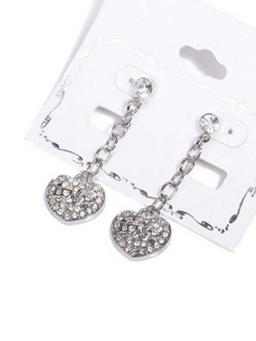 Shops Rhinestone Emboss Love Heart Drop Earrings